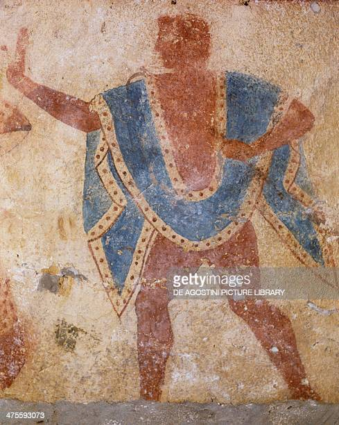 Man in blue cloak fresco Giustiniani Tomb Monterozzi Necropolis Tarquinia Lazio Italy Etruscan civilisation 5th century BC