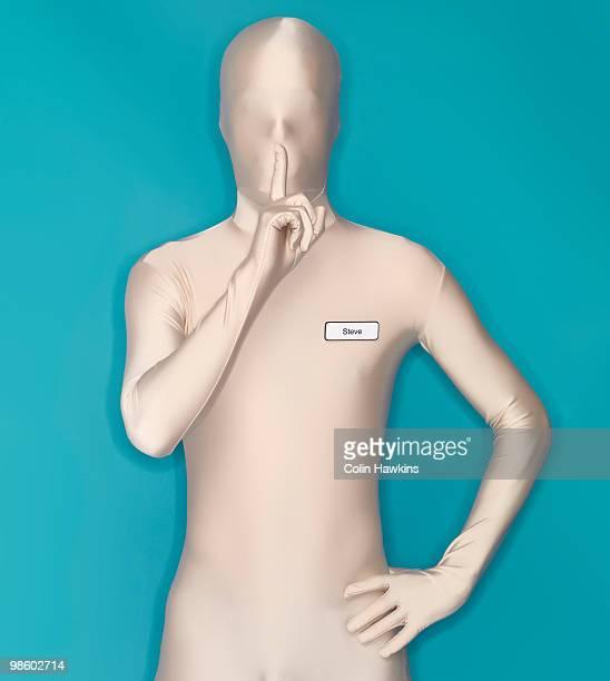 man in bodysuit being quiet