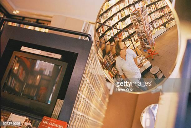 Man in Bookstore Mirror