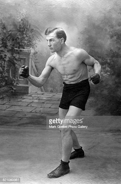 Man in boxing pose 1880s