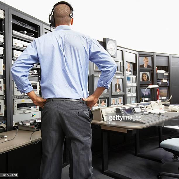 Man in Broadcasting Studio