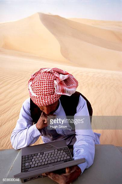 Man in Desert with a Laptop