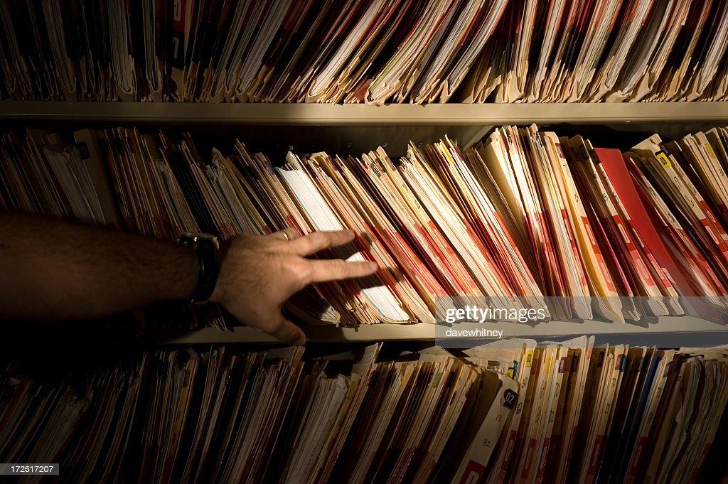 Los registros médicos robo : Foto de stock