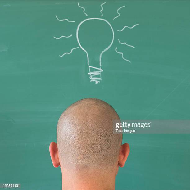 Man in front of blackboard with drawing depicting Lightbulb