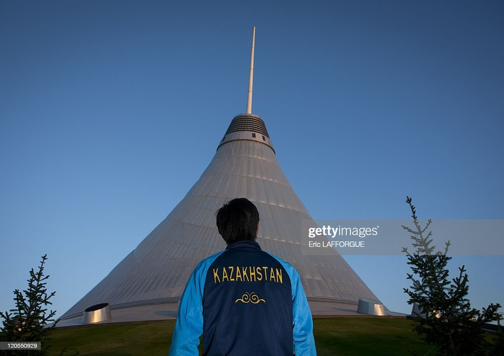 Man In Front Of Khan Shatyr Giant Tent In Astana Kazakhstan On September 21 & Man In Front Of Khan Shatyr Giant Tent In Astana Kazakhstan On ...