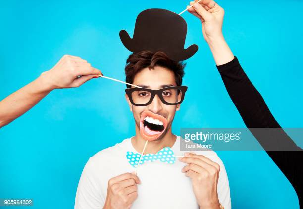 man in funny disguise - disguise stock pictures, royalty-free photos & images