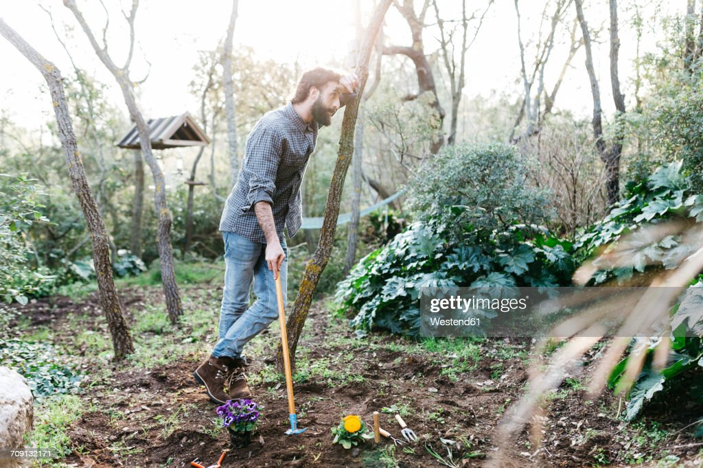 Man in garden having a break from gardening : Stock Photo