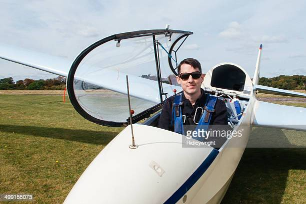 Man in glider before take off