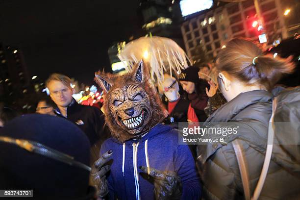 Man in Halloween costume on street
