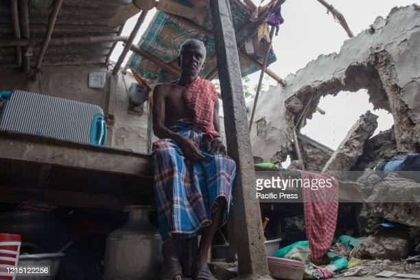 A man in his house which has been destroyed in the super cyclone Amphan People who were almost jobless during the time of lockdown due to the...