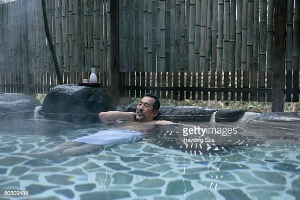 Man in hot spring