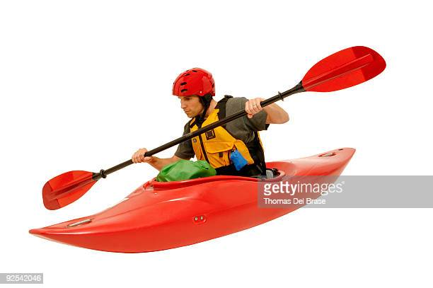 Man in kayak outlined on white.