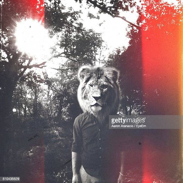 Man in lion mask standing against tress