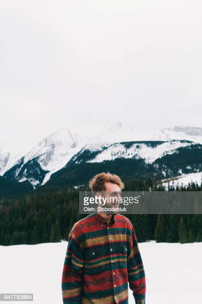 man in mountains in winter - one man only stock pictures, royalty-free photos & images