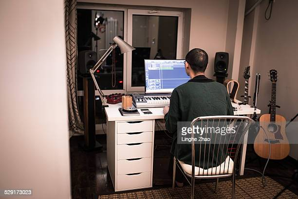 A man in music studio