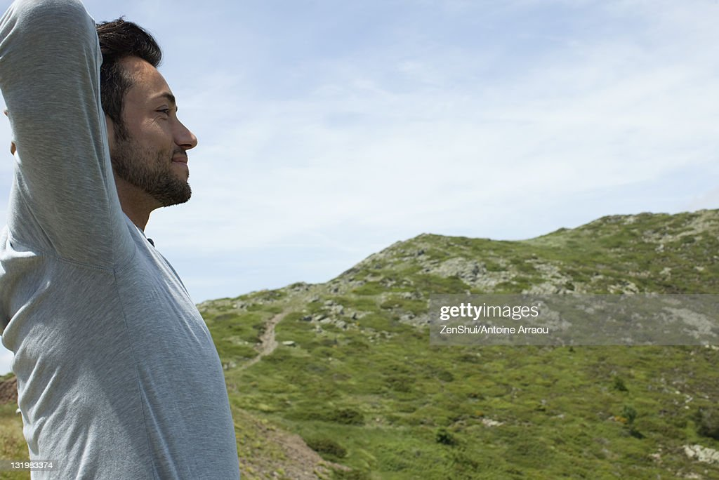 Man in nature : Stock Photo