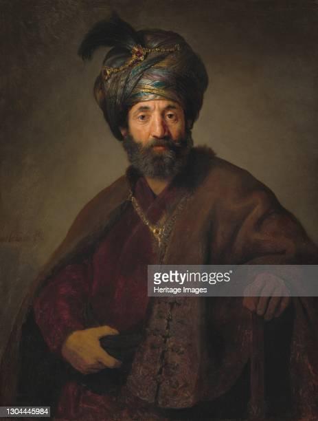 Man in Oriental Costume, c. 1635. Artist Rembrandt Harmensz van Rijn, Rembrandt Workshop.