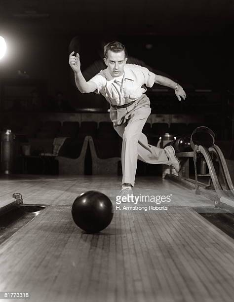 Man In Perfect Form Just Released Bowling Ball Down Alley Retro Vintage.