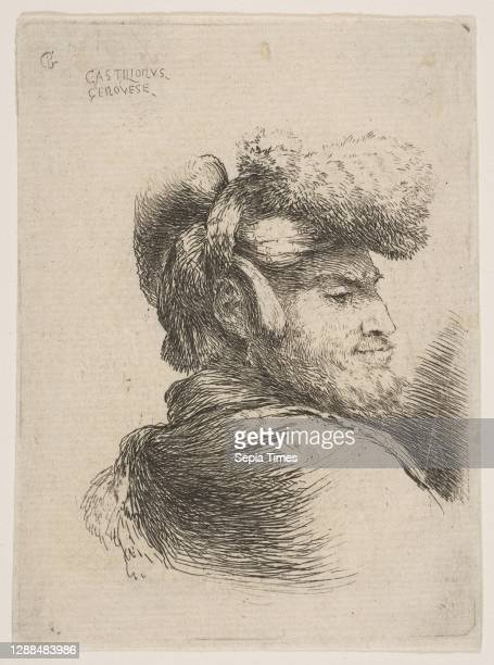 Man in Profile Wearing a Fur Hat, ca. 1645–50, Etching, sheet: 4 7/16 x 3 1/4 in. , Prints, Giovanni Benedetto Castiglione .