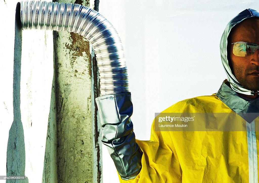 Man in protective suit : Stockfoto