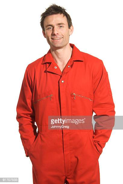 Mann in Rote Boiler Suit