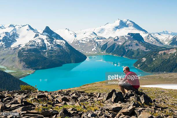 man in red on a rock using cell phone over the mountains - garibaldi park stock pictures, royalty-free photos & images
