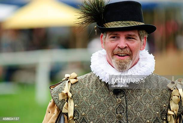 man in renaissance attire - elizabethan collar stock photos and pictures
