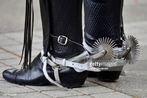 man in riding boots with spurs, detail, island chiloe, chile - riding boot stock pictures, royalty-free photos & images
