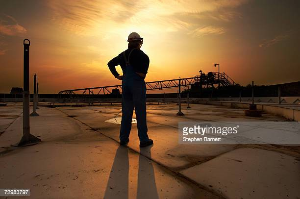 man in safety clothing standing on top of oil tank at sunrise rear view - oil worker stock pictures, royalty-free photos & images