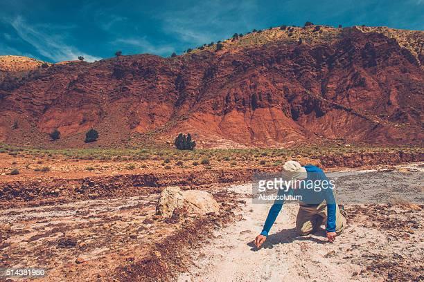 Man in Salt Mine near Telouet in High Atlas, Morocco