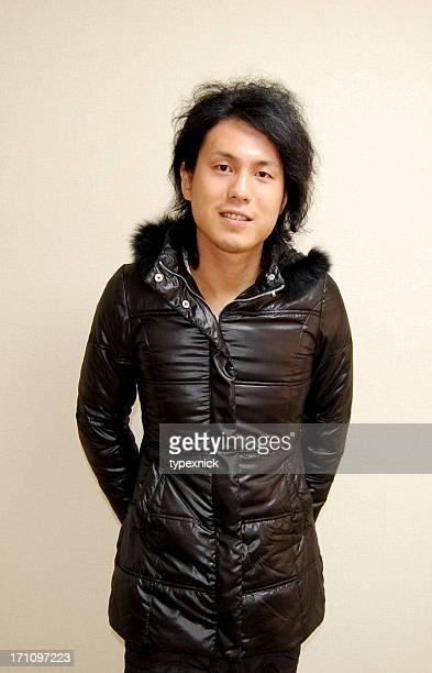 Man in shiny down jacket