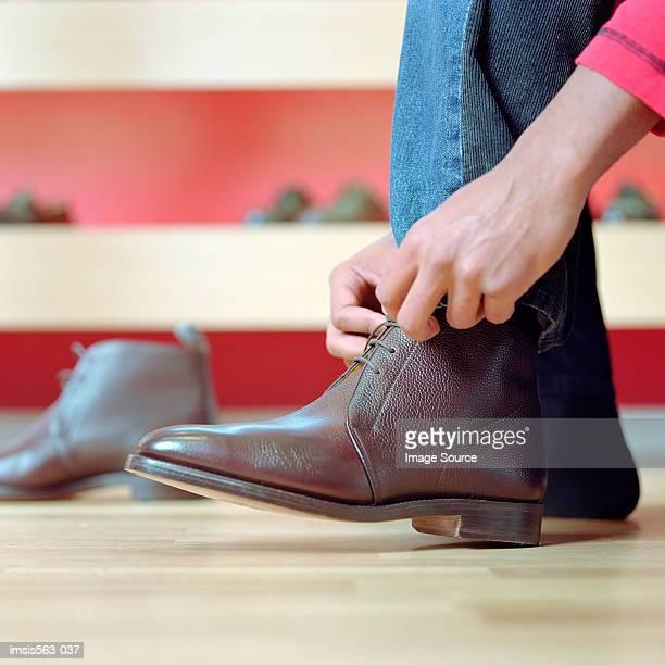 Man in shoe store