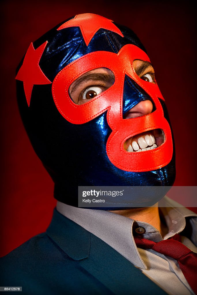 Man In Suit And Mexican Wrestling Mask Stock Photo Getty