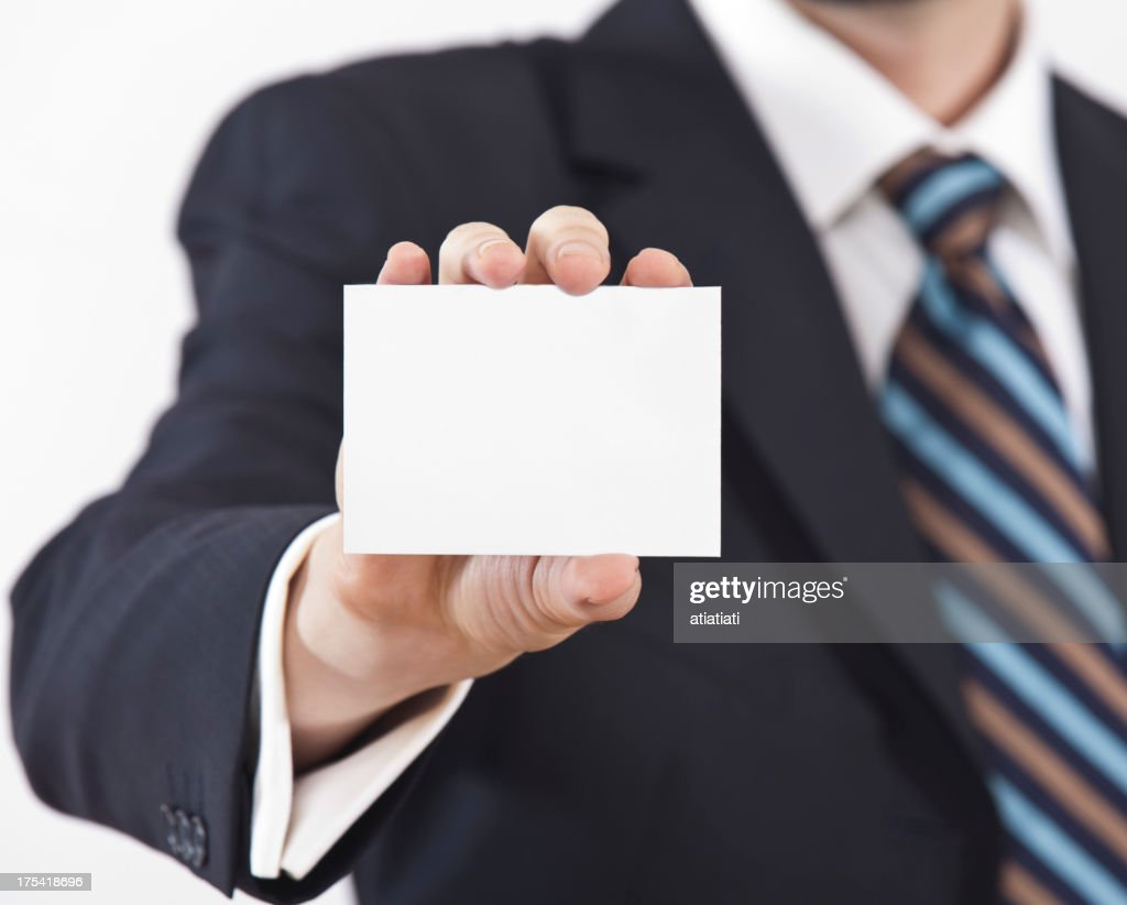 Man In Suit Arm Outstretched Holding Blank Business Card Stock Photo ...