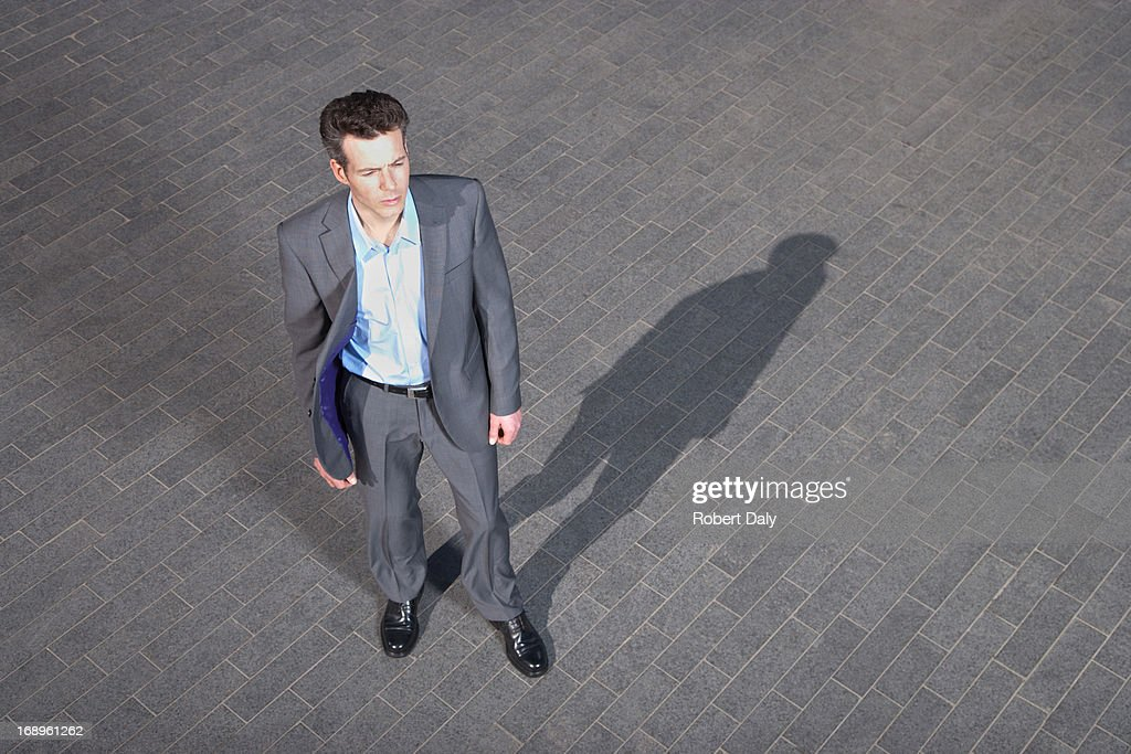 Man in suit, elevated view : Stock Photo