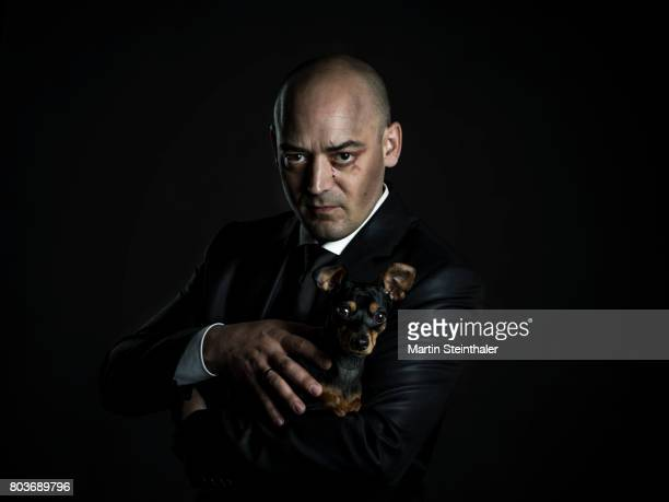 man in suit with serious view, baldhead and bloody tears - gangster stock pictures, royalty-free photos & images