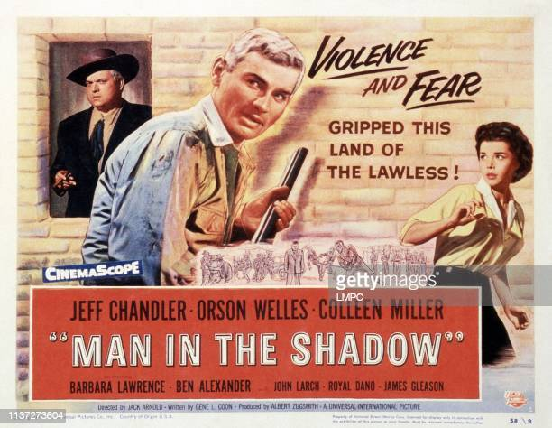 Man In The Shadow, lobbycard, from left: Orson Welles, Jeff Chandler, Colleen Miller, 1957.
