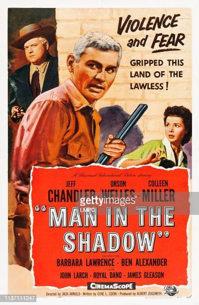 Man In The Shadow poster US poster from left Orson Welles Jeff Chandler Colleen Miller 1957