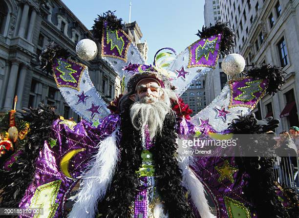 "man in "" the wizard"" costume in mummer's parade - mummers parade stock photos and pictures"