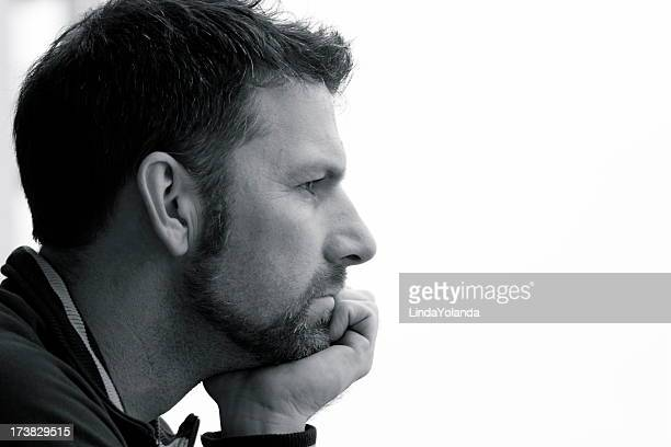 man in thought - high contrast stock pictures, royalty-free photos & images