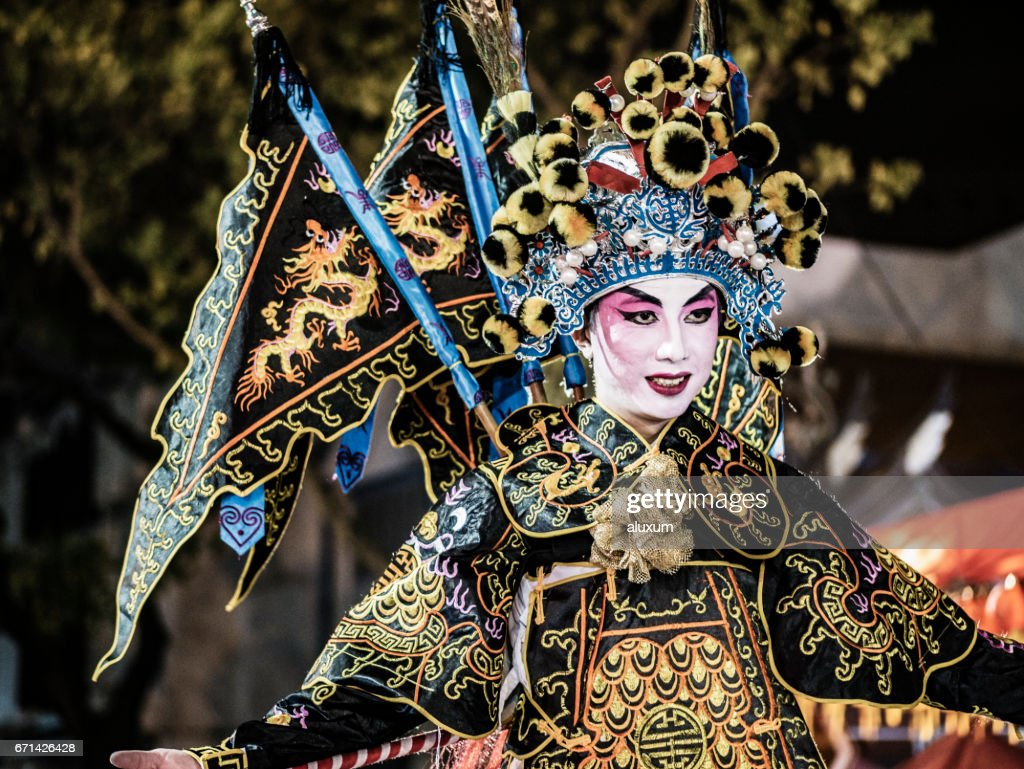 Man in traditional chinese costume during the Chinese New Year Singapore : Stock Photo