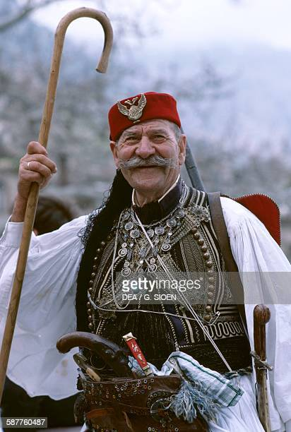 A man in traditional costume during the Easter celebrations Arachova Boeotia Greece