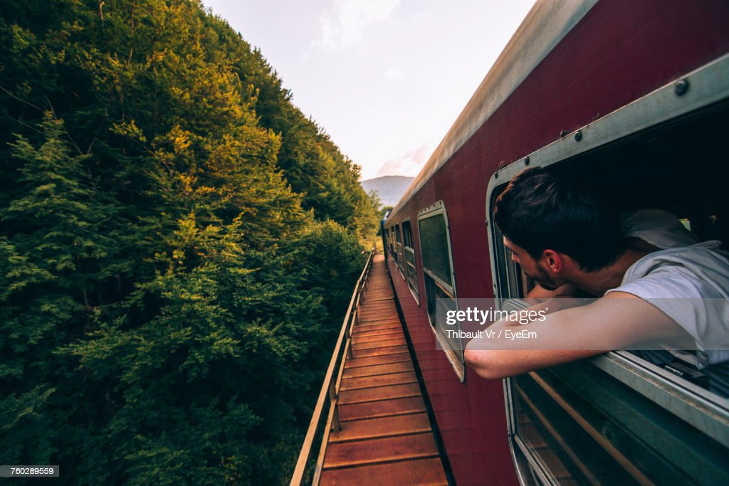 Man In Train : Stock Photo