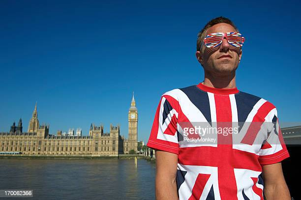 Man in Union Jack T-Shirt and Glasses London Skyline