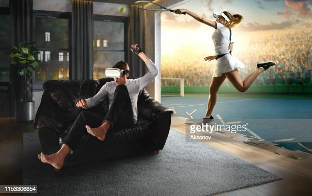 man in vr glasses. virtual reality with tennis - tennis player stock pictures, royalty-free photos & images