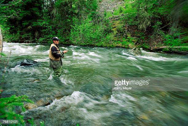 man in waders fishing in white water - stroomversnelling stockfoto's en -beelden