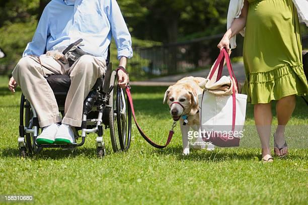 hombre en silla de ruedas con una lesión medular caminar con servicio d - quadriplegic fotografías e imágenes de stock
