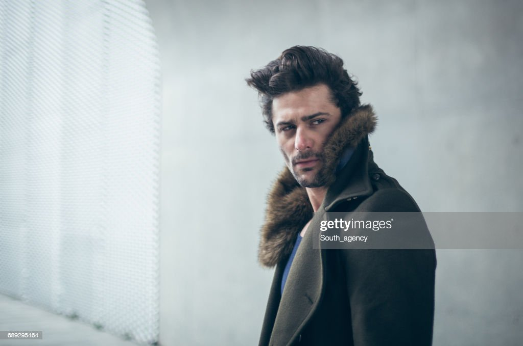 Man in winter coat : Stock Photo