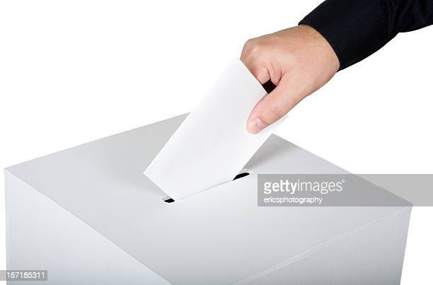 Man inserting a blank vote