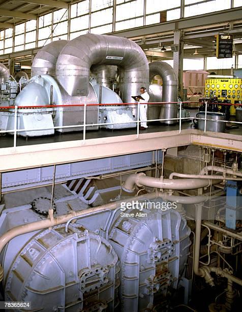 Man inspecting industrial plant equipment